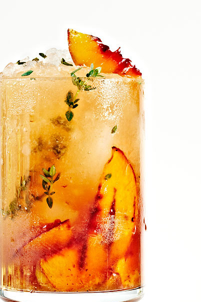 Thyme Grilled Peach Whiskey Cocktail