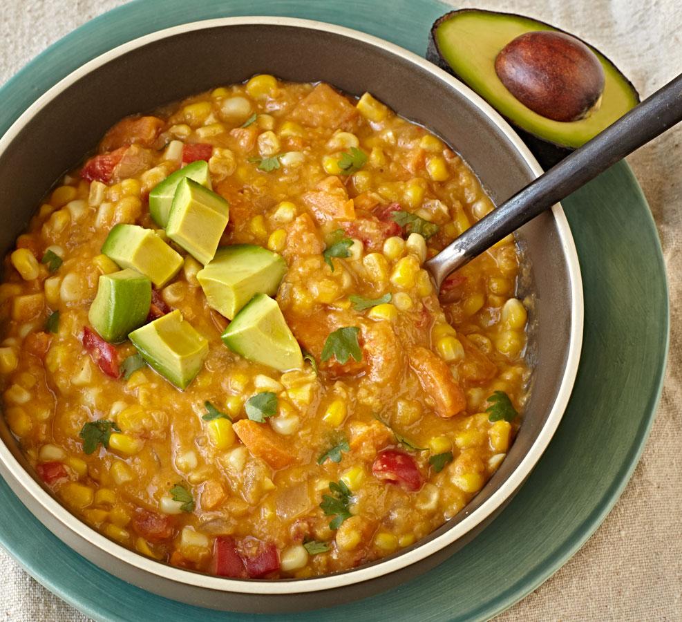Vegan sweet potato corn chowder