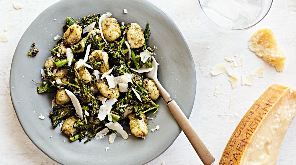 gluten-free gnocci with broccolini and pecan pesto