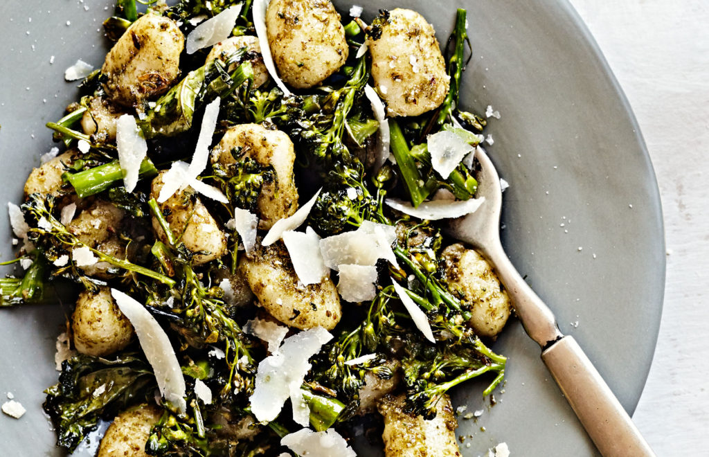 gluten-free gnocci with broccolini and pecan pesto