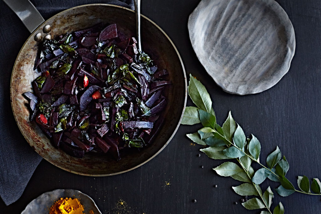 Sri Lankan vegan beet curry in metal pan