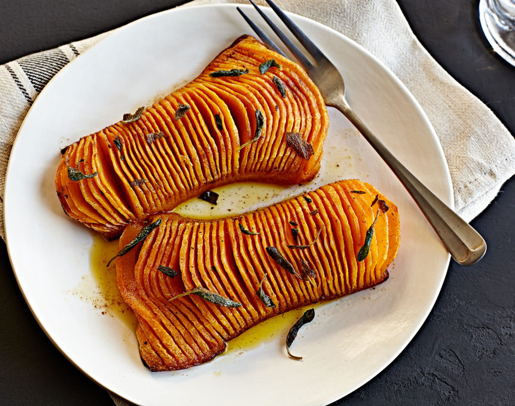 Hasselback Brown Butter Sage and Maple Butternut Squash