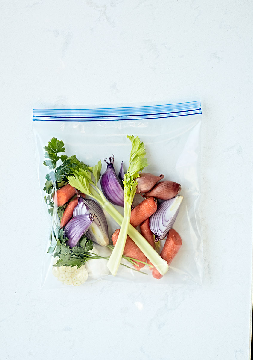 Fresh vegetables in a ziplock bag ready to make broth.