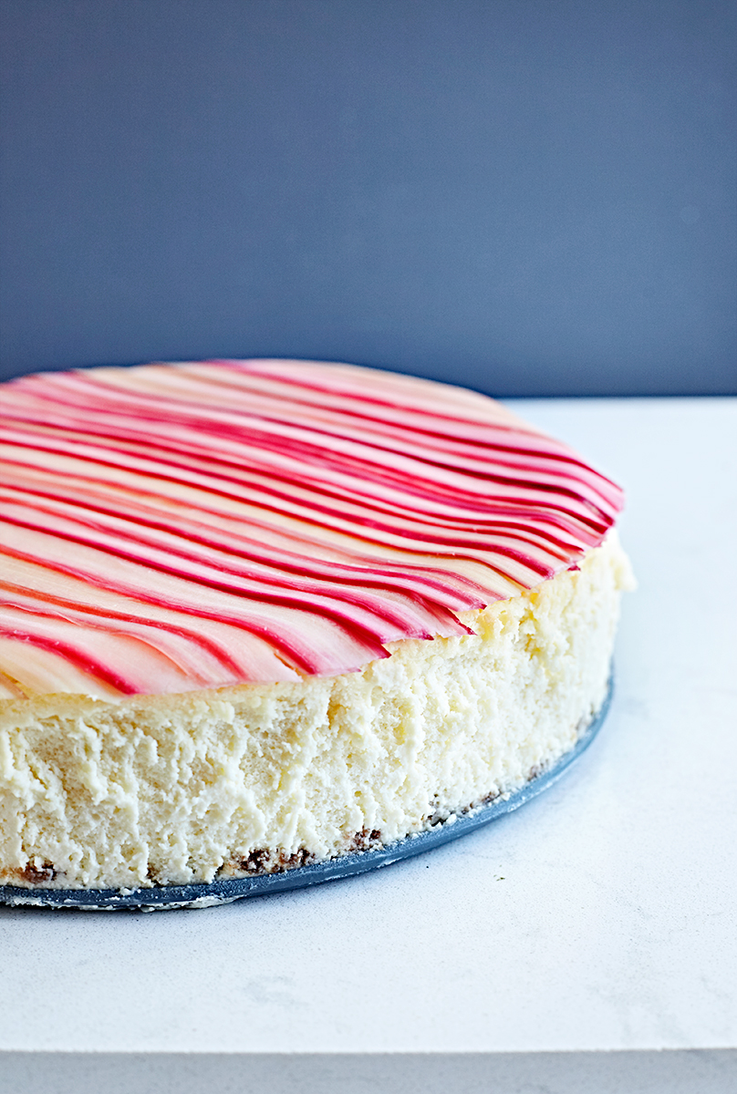 Candied rhubarb gluten-free cheesecake with a rhubarb ginger cocktail.