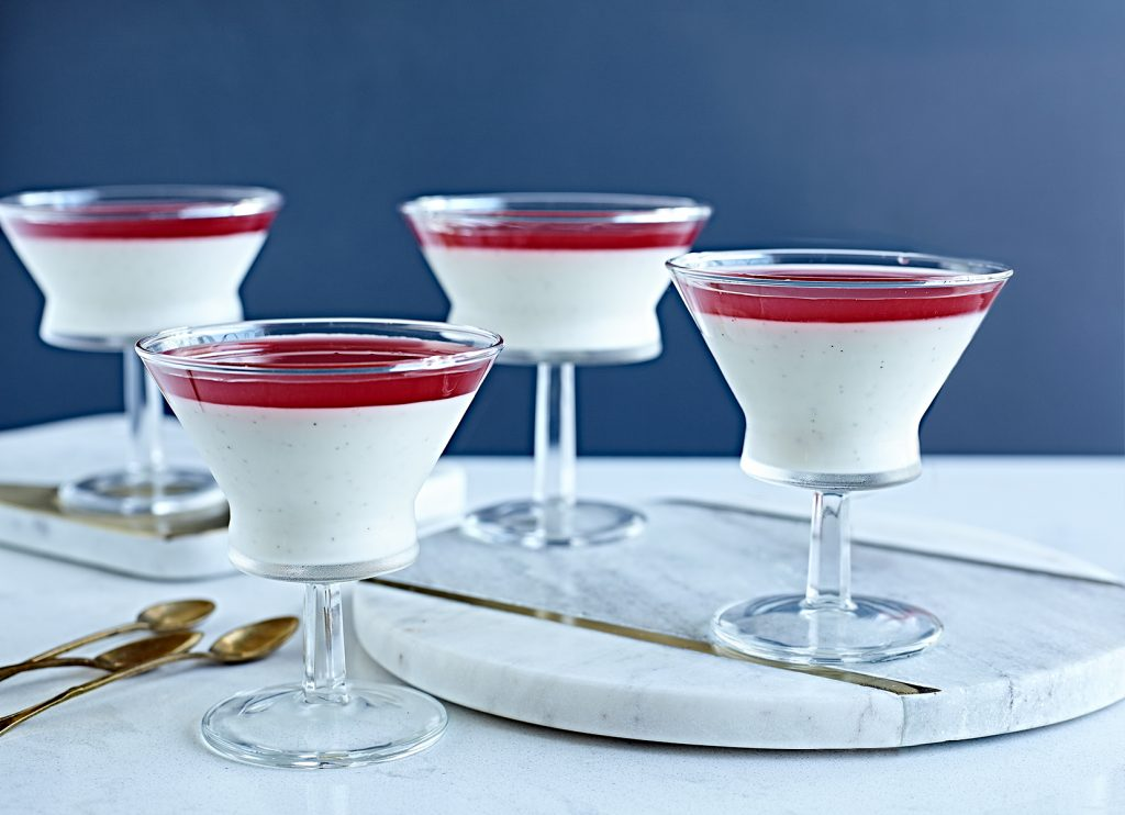 Yogurt Panna Cotta with Rhubarb Syrup