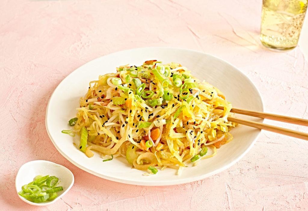 Spaghetti Squash Chow Mein (Gluten-Free + Vegan)