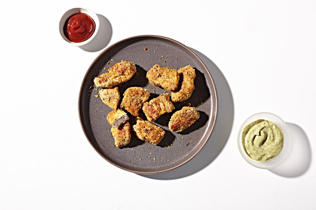 Grain-free, baked chicken nuggets with tangy dill dip.