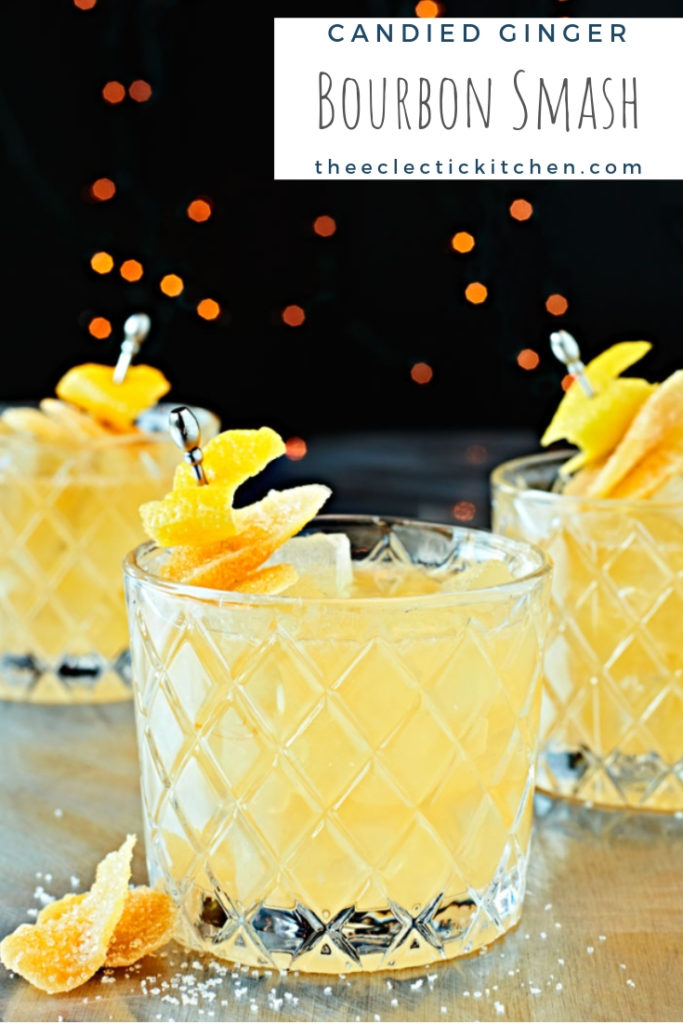 Candied Ginger Bourbon Smash on glasses with twinkling lights.