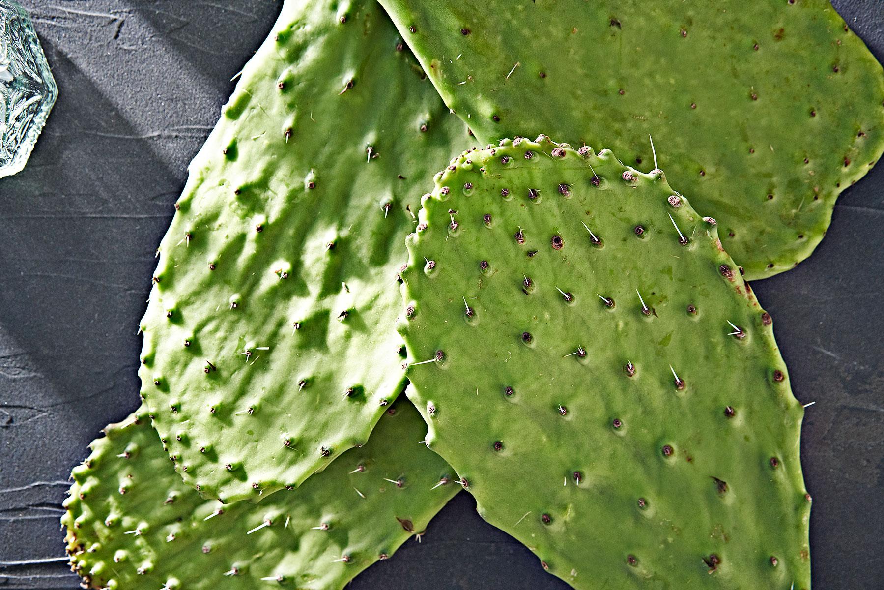 Nopales or prickly pear cactus paddles.