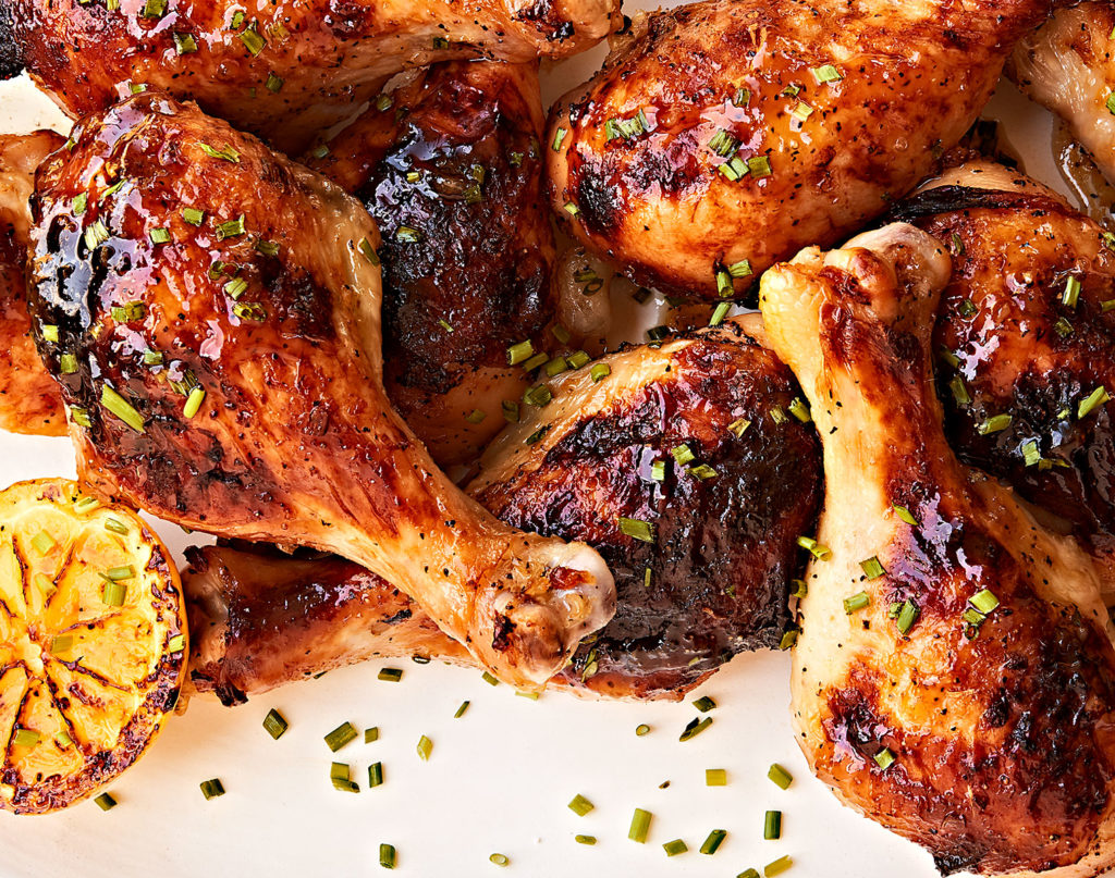 Sticky honey lemon chicken drumsticks.
