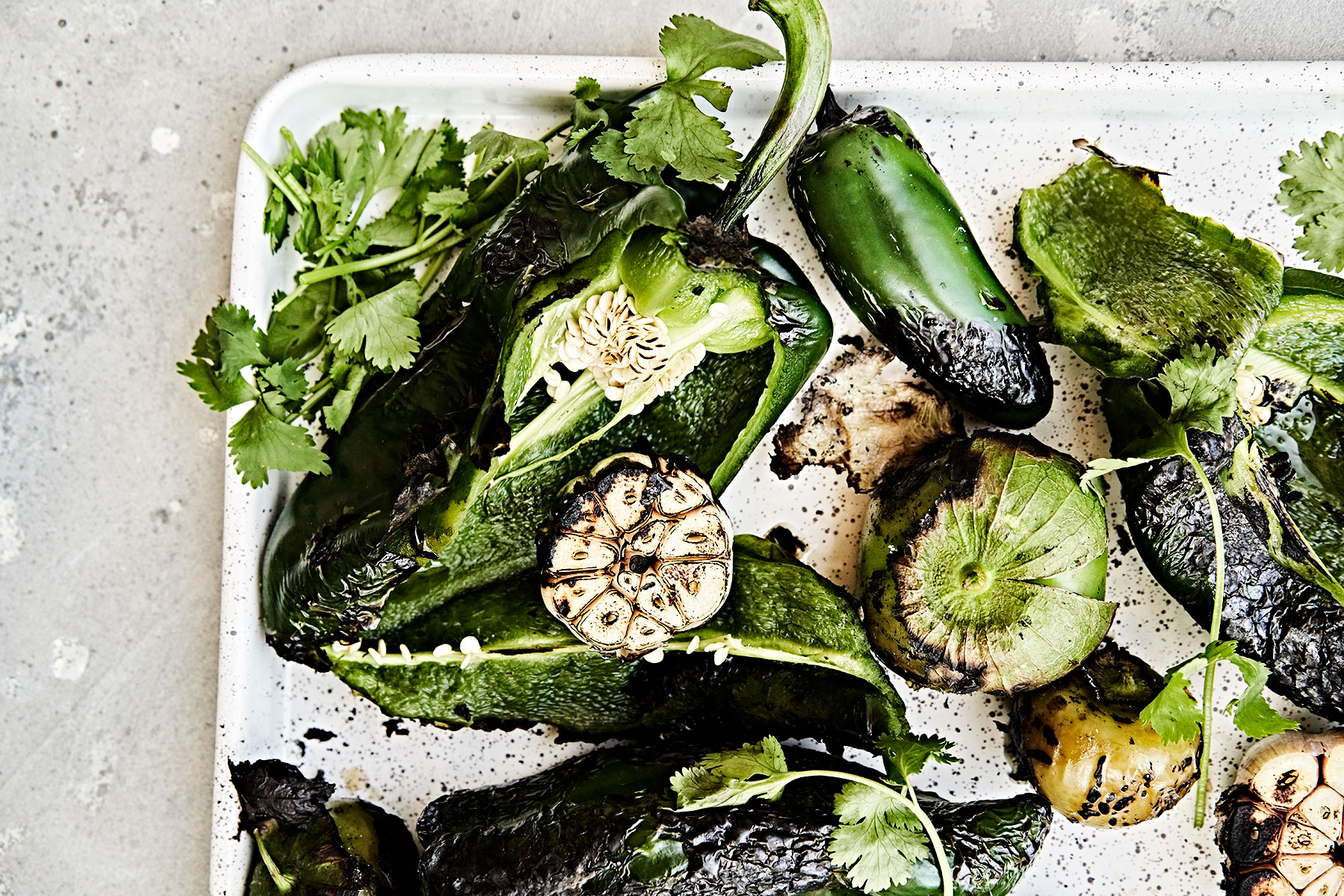 Fire roasted poblano and jalapeno peppers